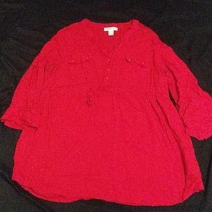 Motherhood Maternity Shirt Large Red Long Sleeve